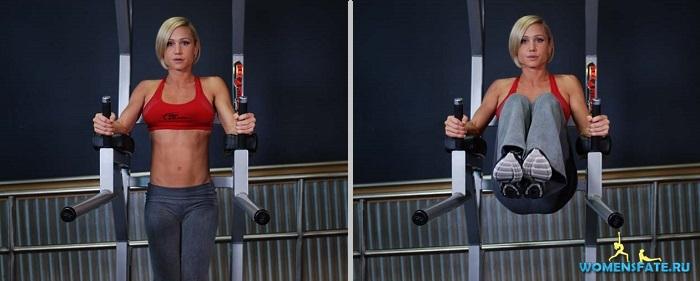 поднятие ног на тренажере с упорами для локтей
