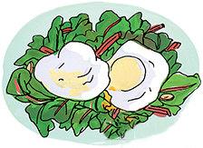 яйца пашот на свекольной подушке