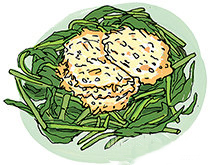 эндивий с чипсами из пармезана